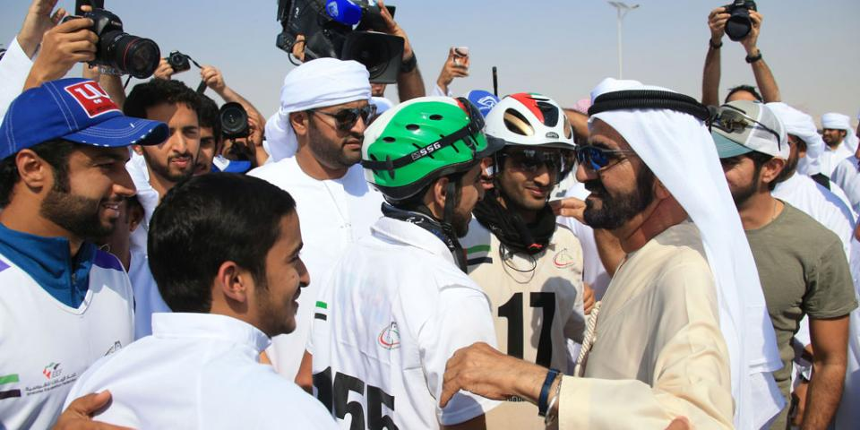 الشيخ محمد بن راشد آل مكتوم يشهد سـباق تحـدي الوثبة للقدرة